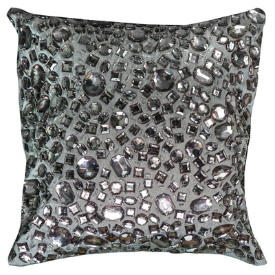 Rizzy Home silver/pewter crystal beads toss throw pillow