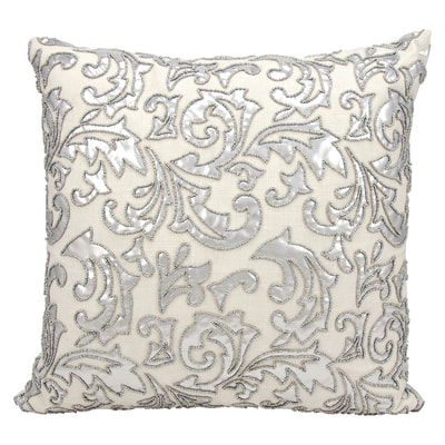 Nourison silver beaded throw pillow