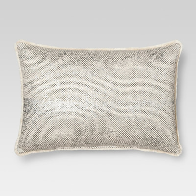 Threshold metallic mini fringe throw pillow
