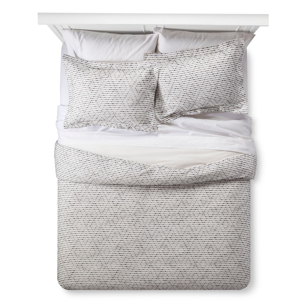 Gray woven duvet cover set