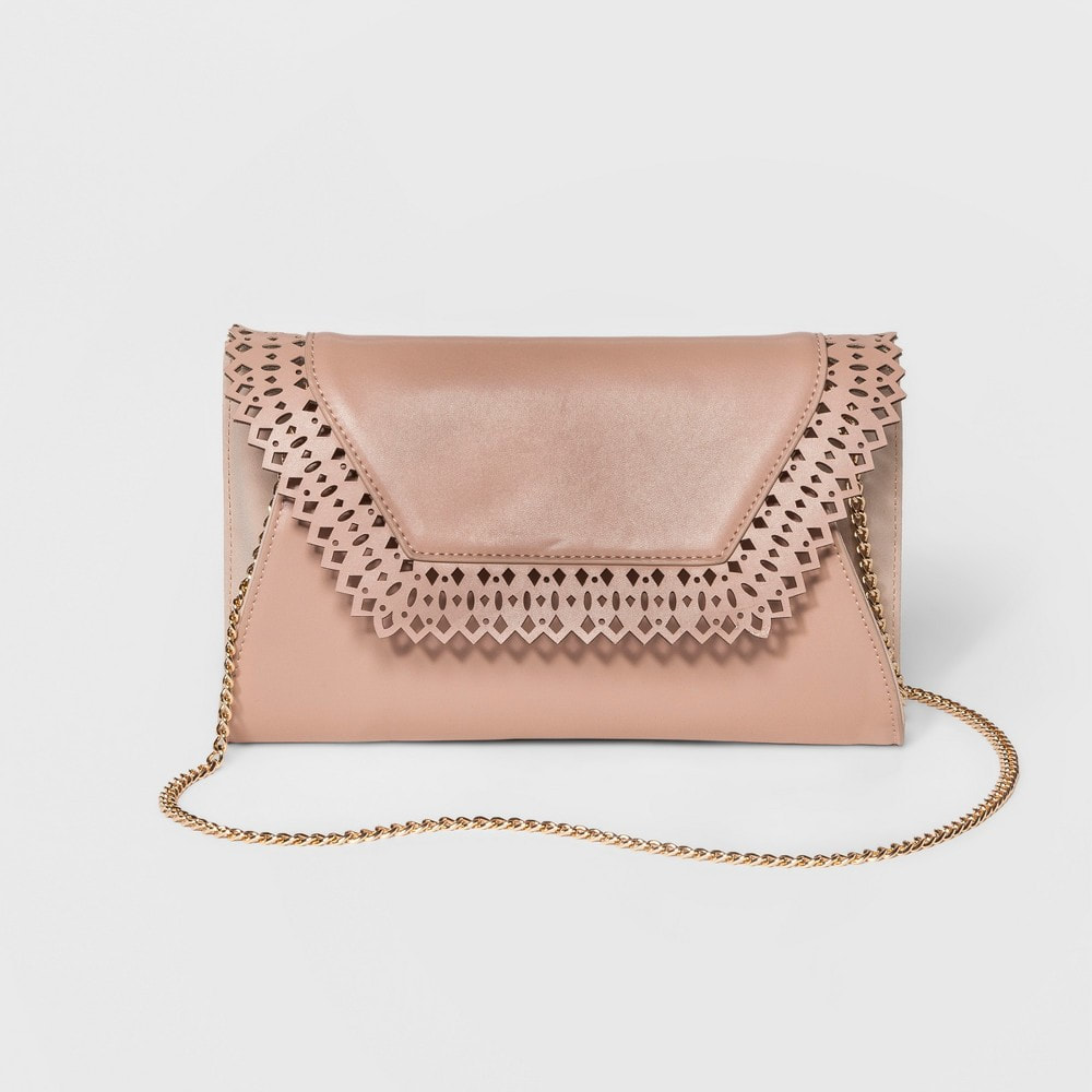 Rose gold envelope clutch