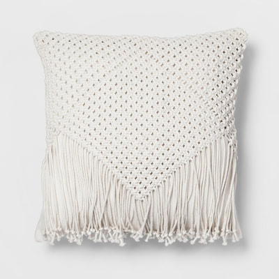 Opalhouse cream macrame fringe throw pillow